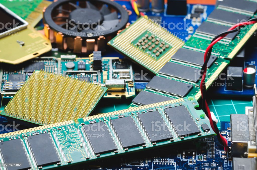 chips and boards for spare parts and recycling Old chips and boards for spare parts and recycling CPU Stock Photo
