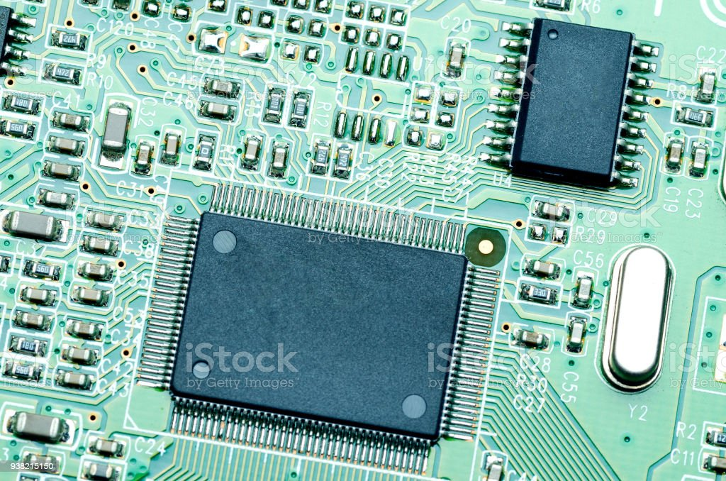 chips and components on the green printed circuit board stock photo rh istockphoto com