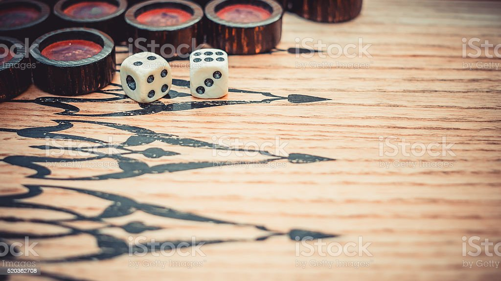 Chips and dice. Gamble backgammon stock photo