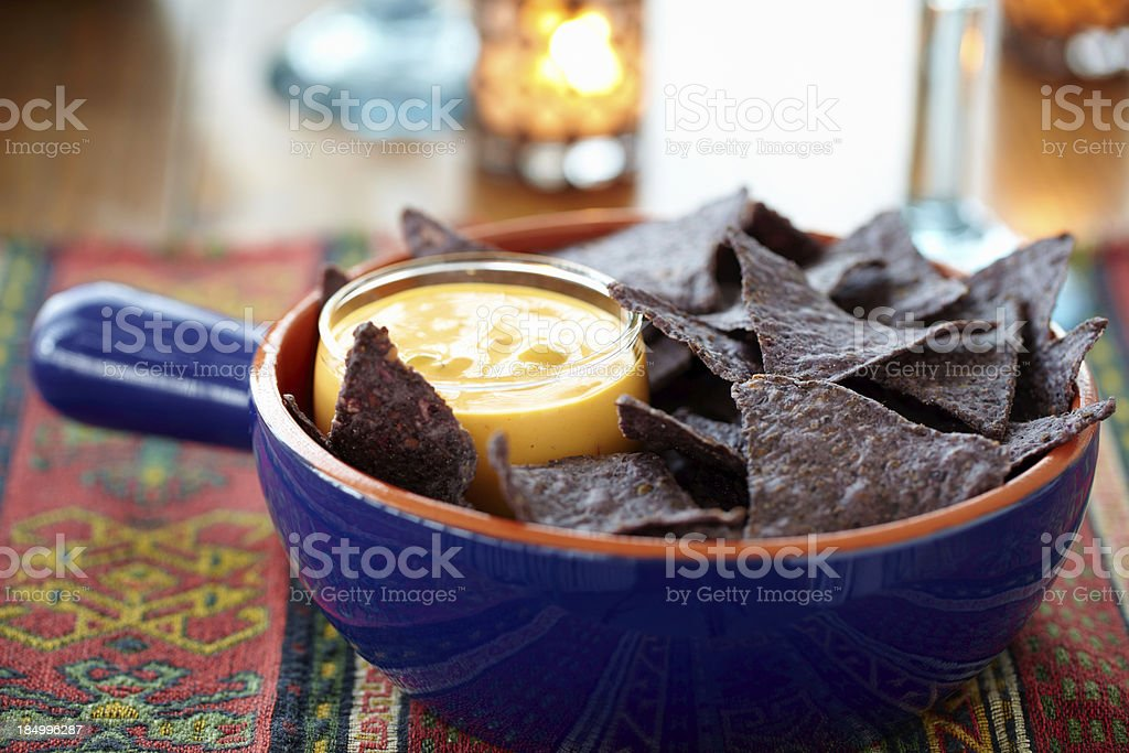 Chips and Queso royalty-free stock photo