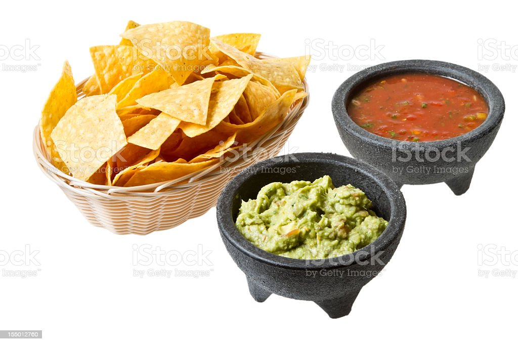Chips and Salsa Guacamole stock photo