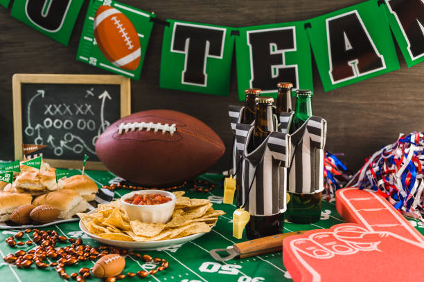 chips and salsa Game day football party table with beer, chips and salsa. buffet stock pictures, royalty-free photos & images