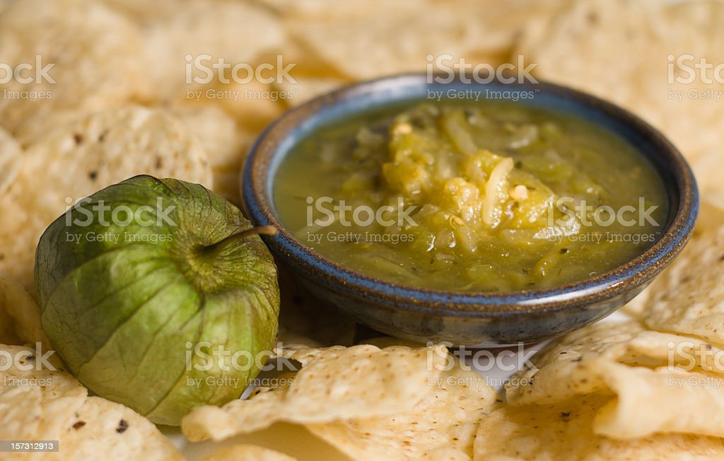 Chips and salsa verde stock photo