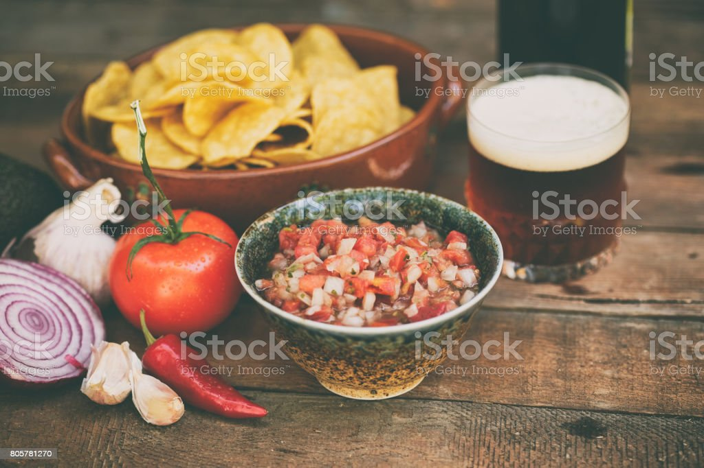 Chips And Salsa With Beer Stock Photo Download Image Now Istock