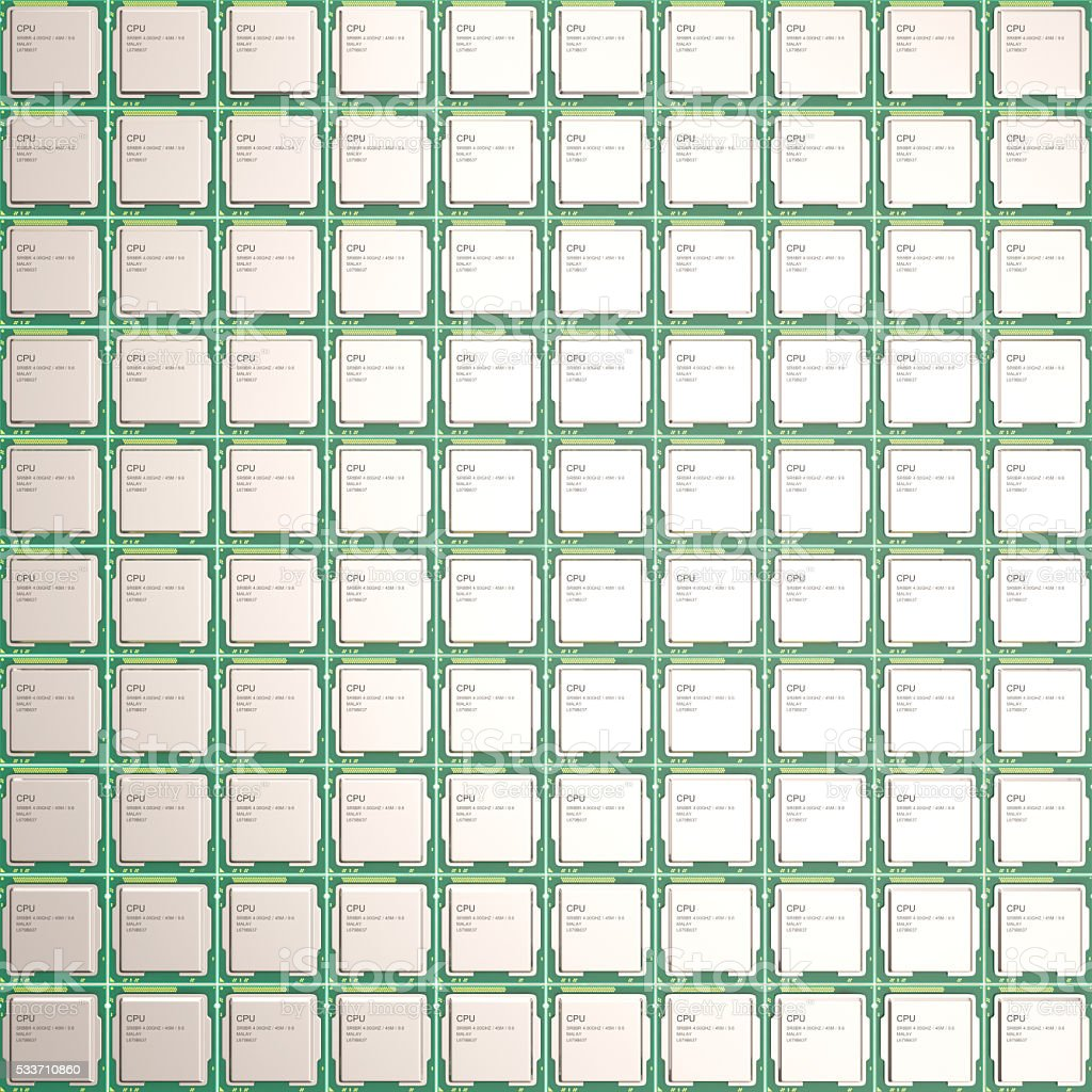 CPU chips, central processor unit, top view. 3d illustration stock photo