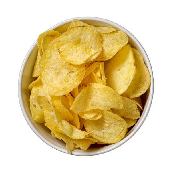 chips in a plate isolated on white background - chipsy zdjęcia i obrazy z banku zdjęć