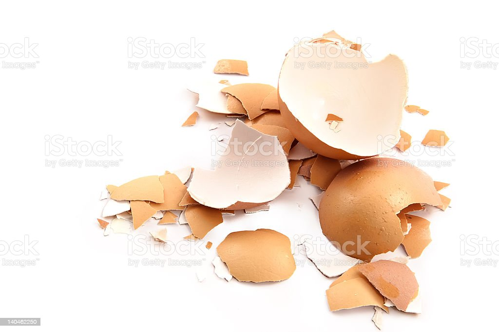 Chips of the crushed egg shell stock photo