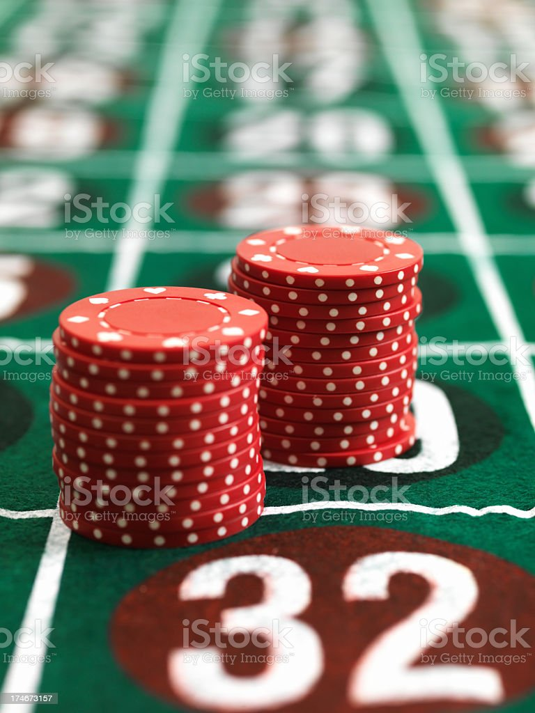 Chips on roulette table royalty-free stock photo
