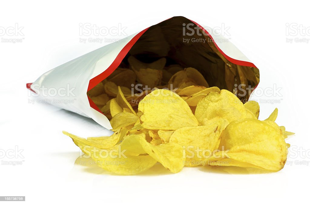 Chips out bag stock photo