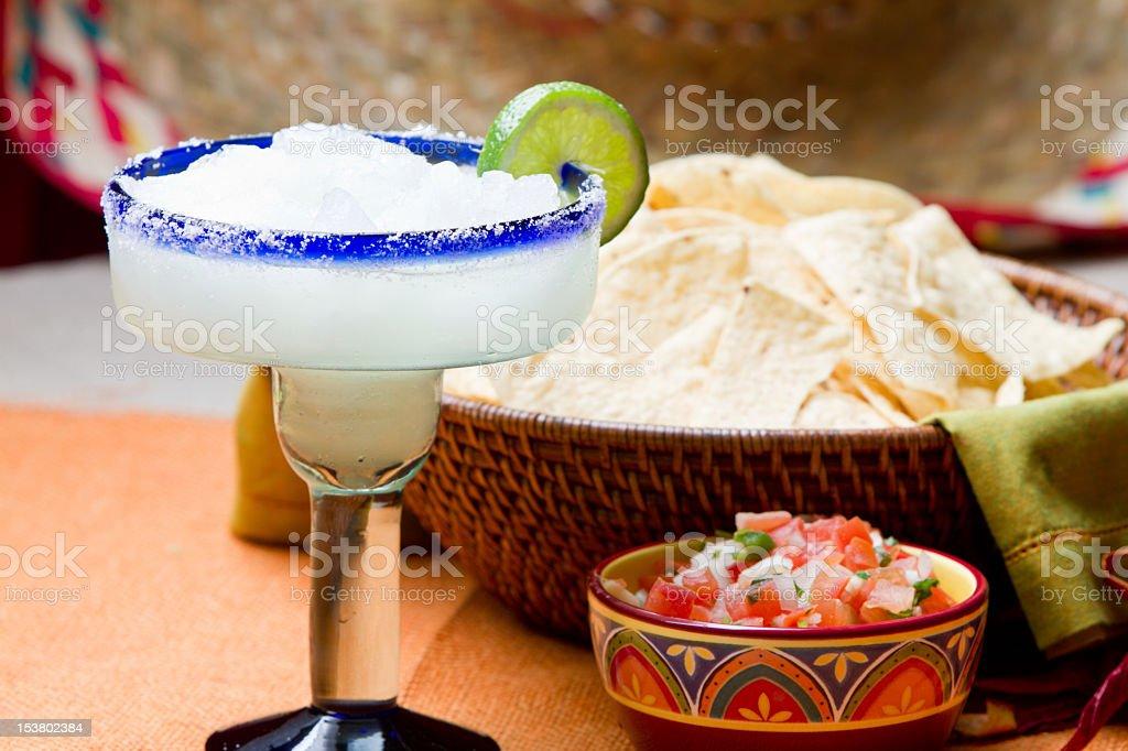 Chips, Salsa and Margarita stock photo