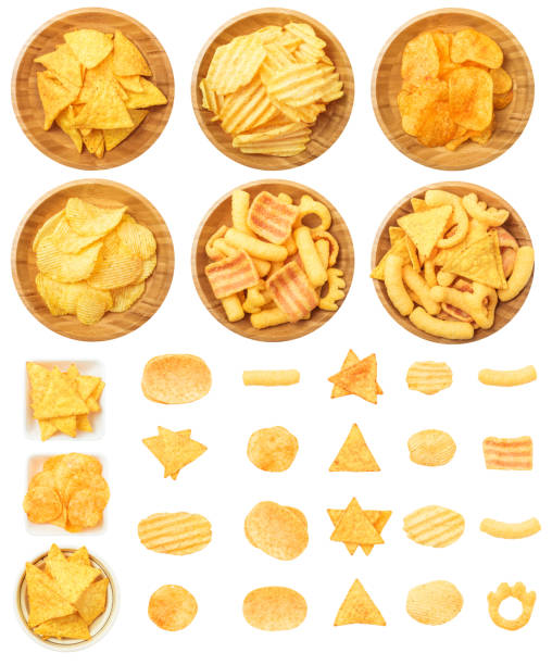 Chips, Tortilla, and Corn Puffs Isolated on White Background stock photo