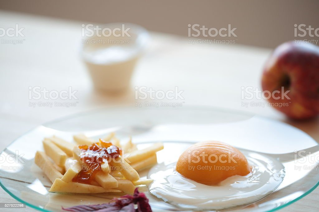 chips with egg stock photo