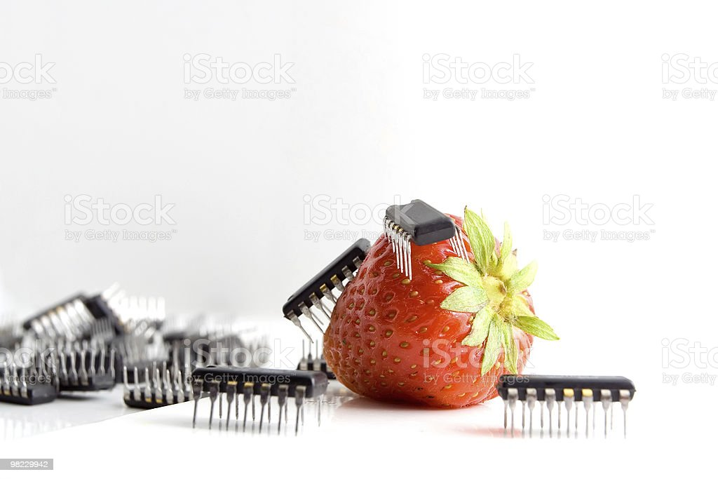 Chips with strawberry royalty-free stock photo