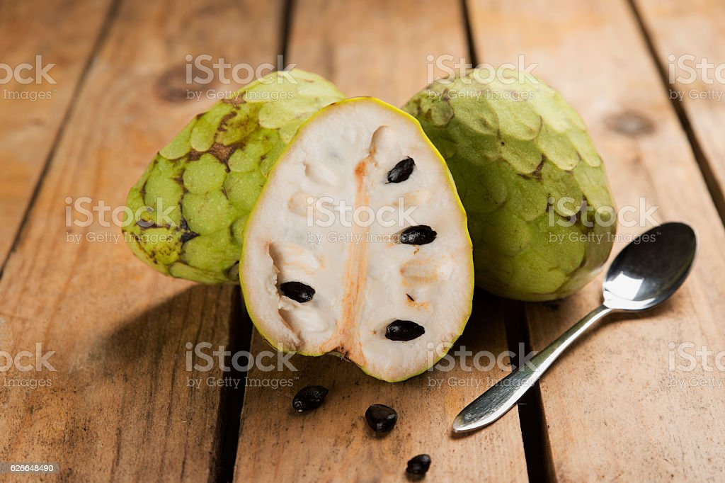 Chirimoya tropical fruit with a sweet flavor and intense stock photo