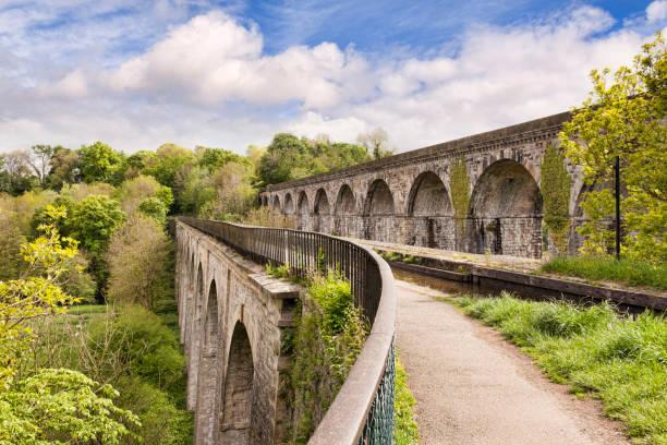 Chirk Aqueduct and Chirk Viaduct, Chirk, Wrexham County Borough, Wales, UK stock photo