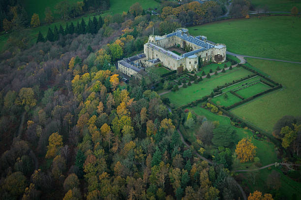 Chirk Castle from the air stock photo