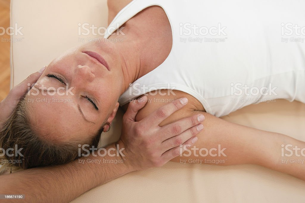 Chiropractic neck adjustment royalty-free stock photo