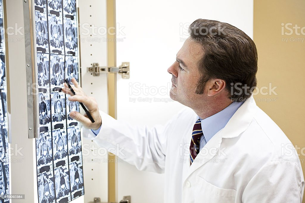 Chiropractor Examines Scan royalty-free stock photo