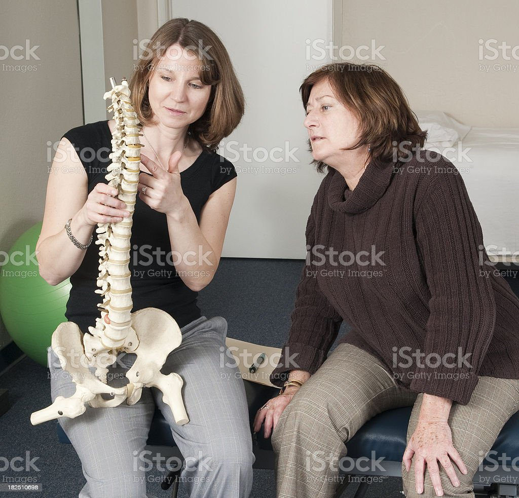 Chiropractor With Spine Model royalty-free stock photo