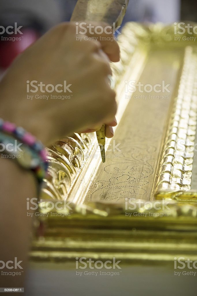 Chiseling a frame stock photo