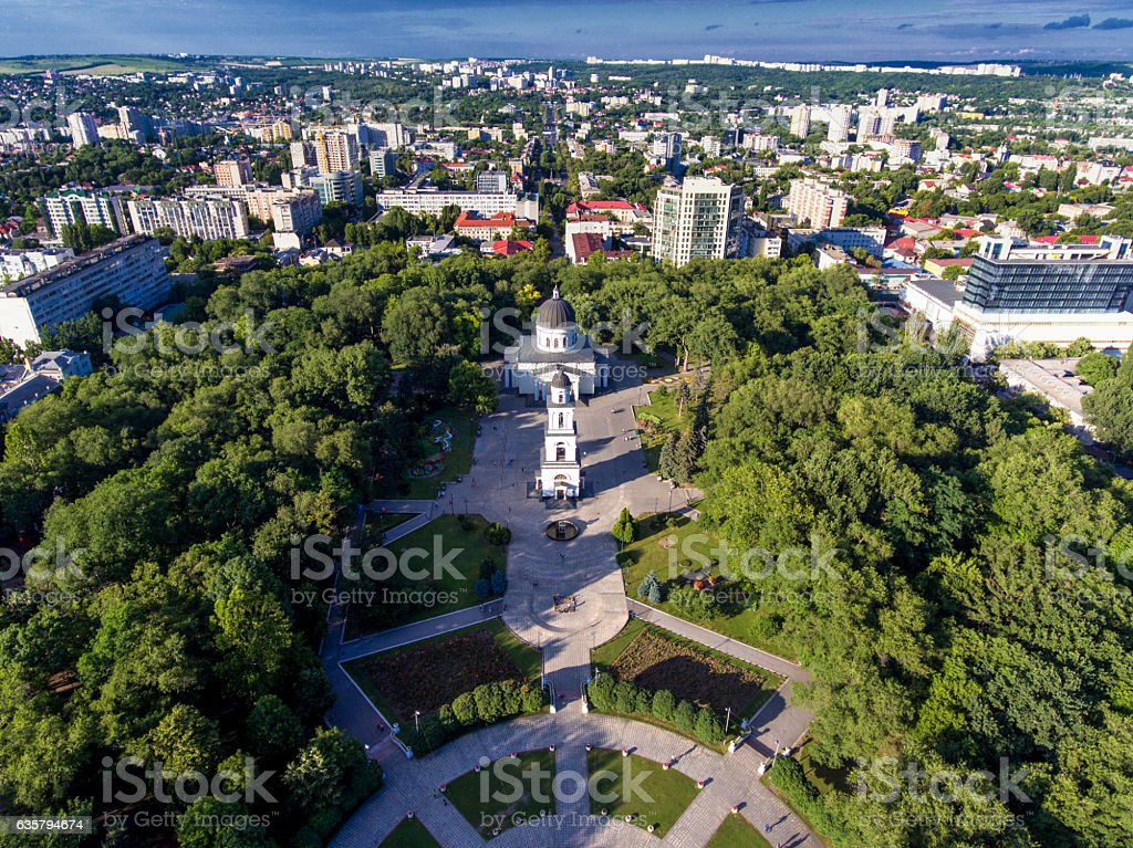 Chisinau, Republic of Moldova, aerial view from drone. Central p stock photo