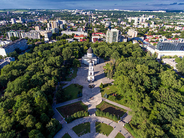 chisinau, republic of moldova, aerial view from drone. central p - moldova stock pictures, royalty-free photos & images