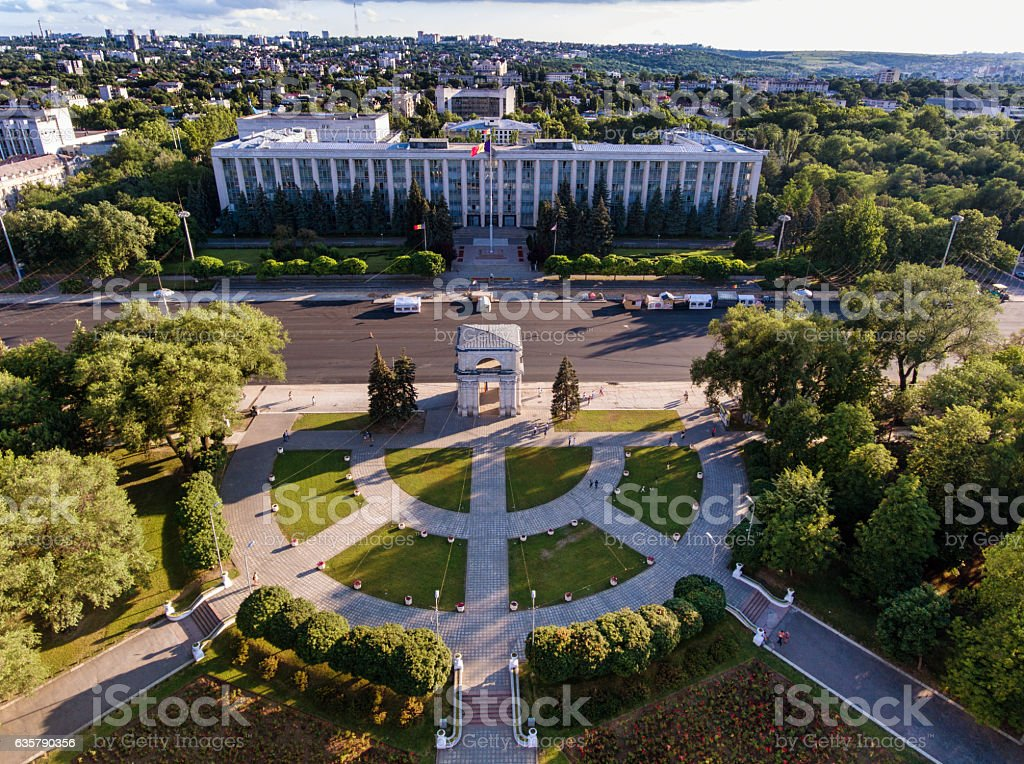 Chisinau, the Triumphal Arch, The Great National Assembly Square stock photo