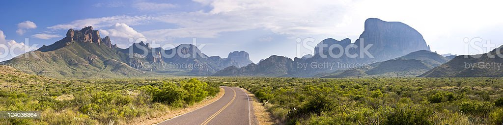 Chisos Basin Drive Panorama - summer stock photo