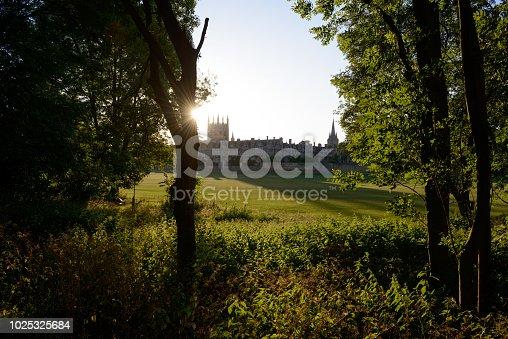 Sun setting over Christ Church college meadow, university Oxford, UK