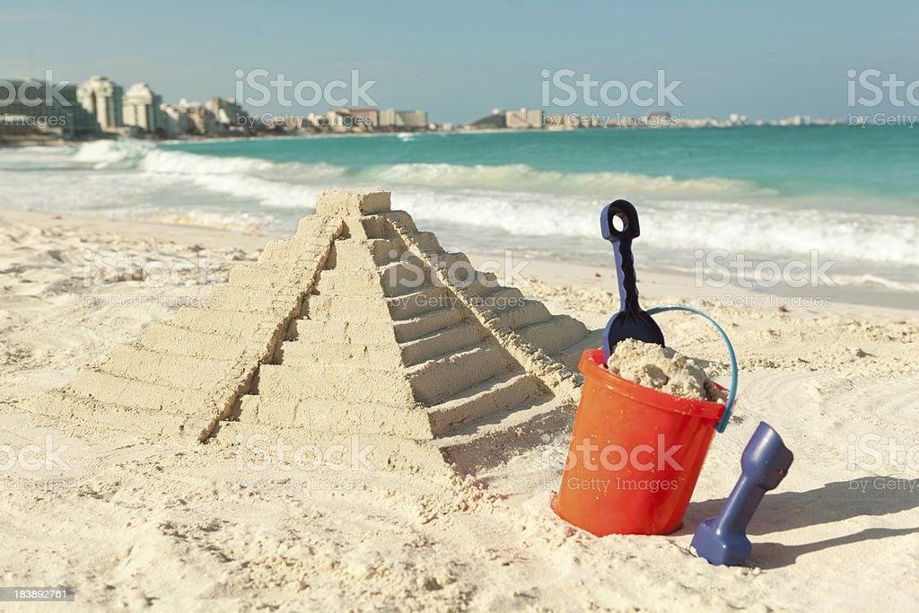 Chitchen Itza Sand Castle on Beach of Cancun Mexico Hz stock photo