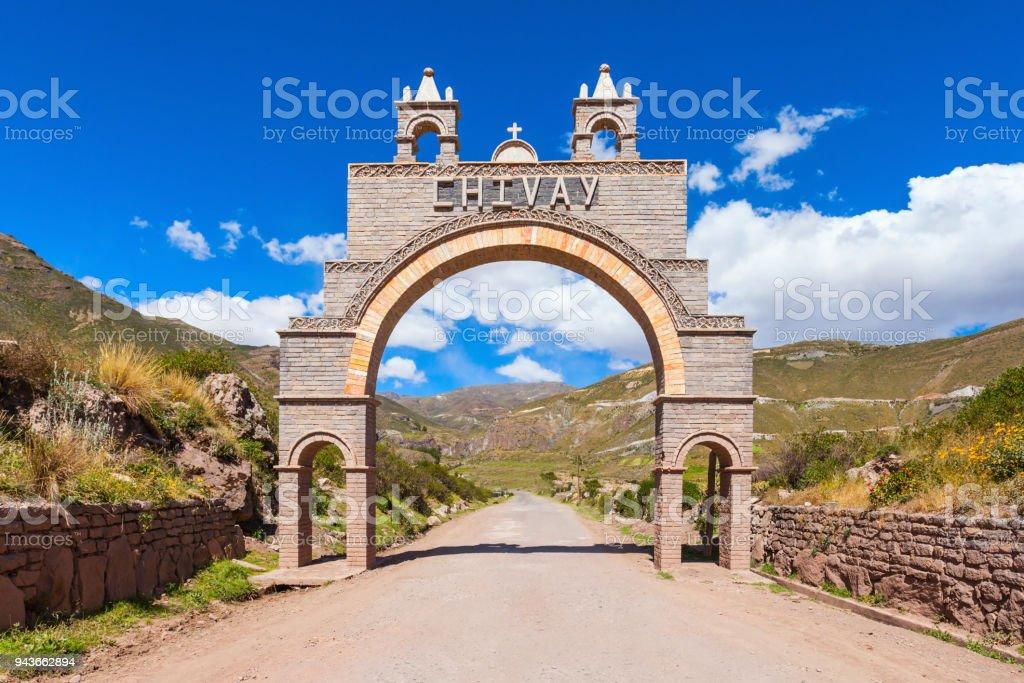 Chivay city, Peru stock photo