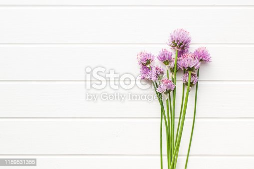 Chives with Flowers on white table.