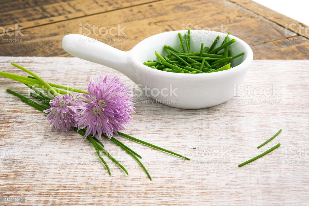 Chives with flowers stock photo