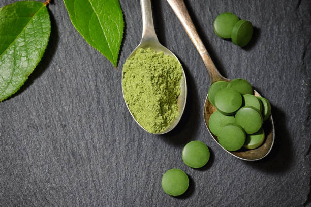 Chlorella And Barley Powder On Spoons on ardesia plate Chlorella And Barley Powder On Spoons on ardesia plate chlorophyll stock pictures, royalty-free photos & images