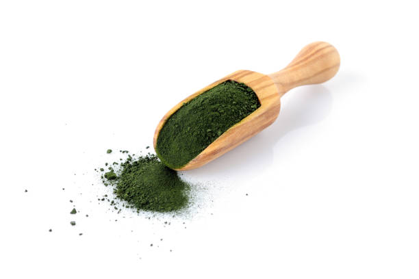 chlorella and spirulina powder in a wooden scoop isolated on white chlorella and spirulina powder in a wooden scoop, isolated chlorophyll stock pictures, royalty-free photos & images
