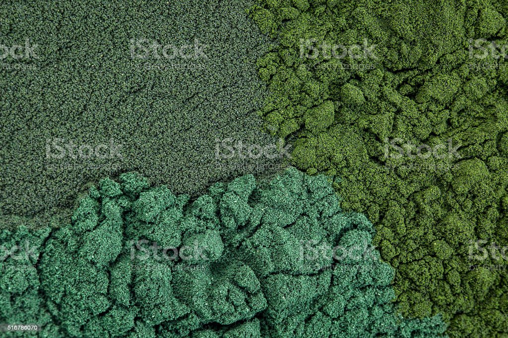 chlorella, spirulina and blue-green stock photo