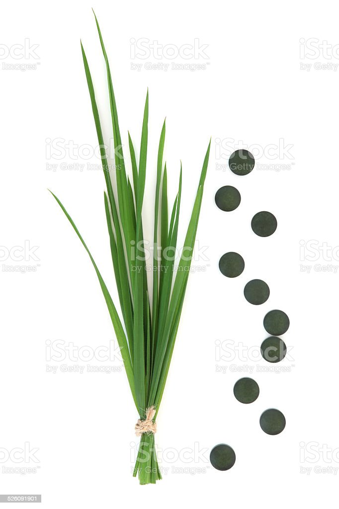 Chlorella Tablets and Wheat Grass stock photo
