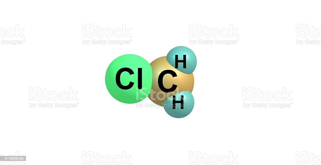 Chloromethane molecular structure isolated on white stock photo