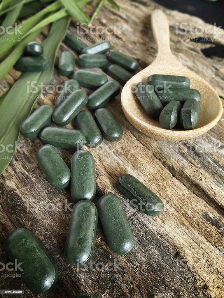chlorophyll pill stock photo