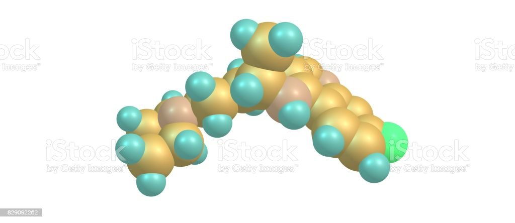 Chloroquine molecular structure isolated on white stock photo