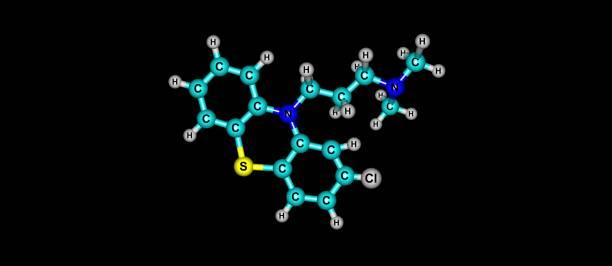 블랙에 고립 된 chlorpromazine 분자 구조 - naegleria fowleri 뉴스 사진 이미지