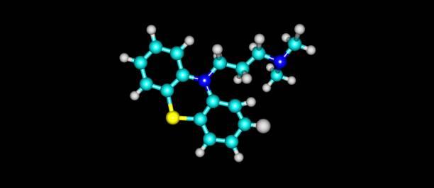 氯丙嗪分子結構上黑色孤立 - naegleria fowleri 個照片及圖片檔