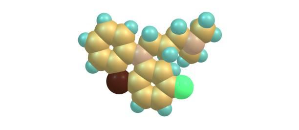 흰색 절연 chlorpromazine 분자 구조 - naegleria fowleri 뉴스 사진 이미지
