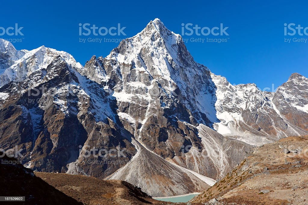 Cho La summit pass in the Mount Everest region of Nepal stock photo