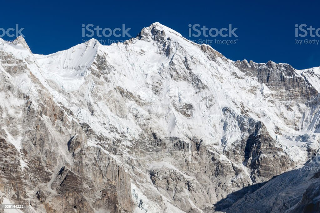 Cho Oyu mountain top landscape on a clear day high stock photo