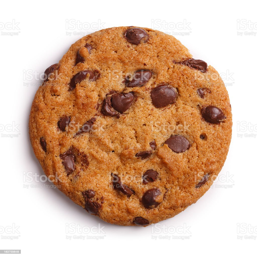 Choc Chip Cookie Isolated + Clipping Path royalty-free stock photo