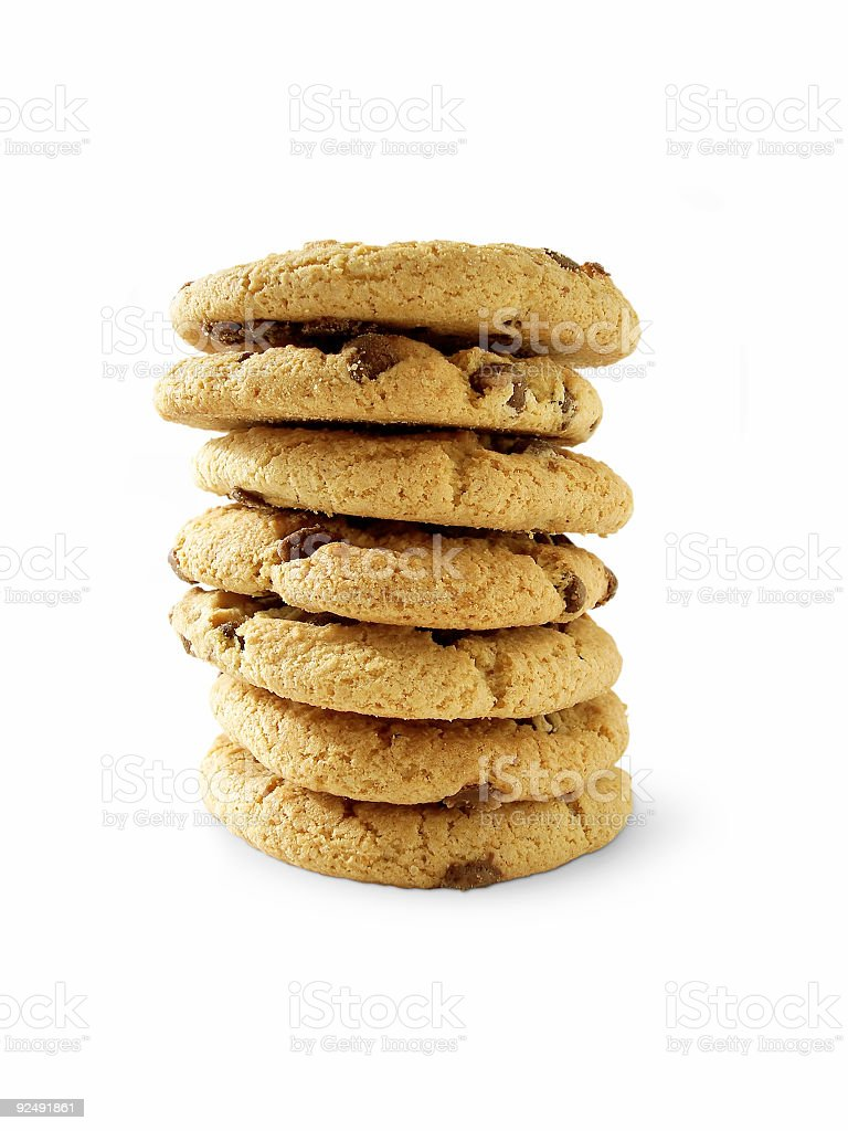 Choc Chip Cookies 6 (paht included) royalty-free stock photo