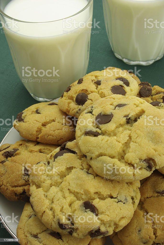 Choc Chip Cookies and Milk stock photo