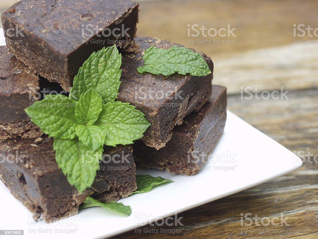 choc mint fudge slice stock photo