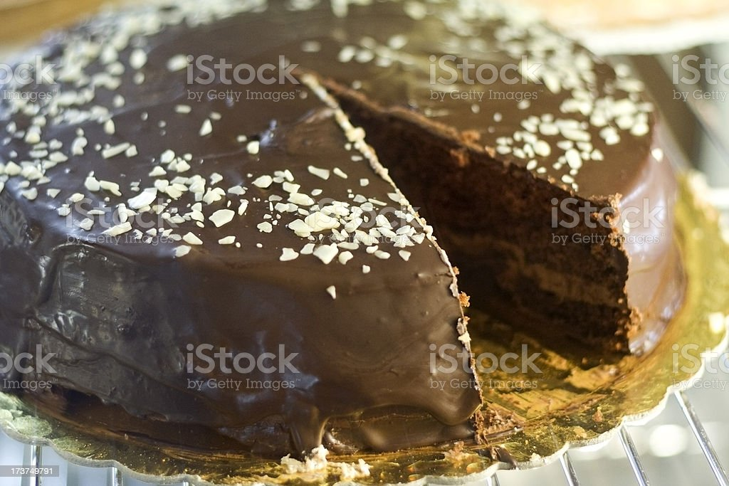 Chocholate Cake with a Missing Slice royalty-free stock photo